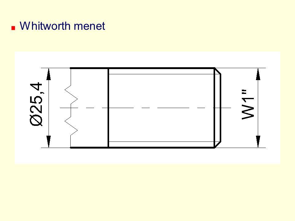 Whitworth menet A szabvány a névleges külső átmérőt és a menetemelkedést is megadja.