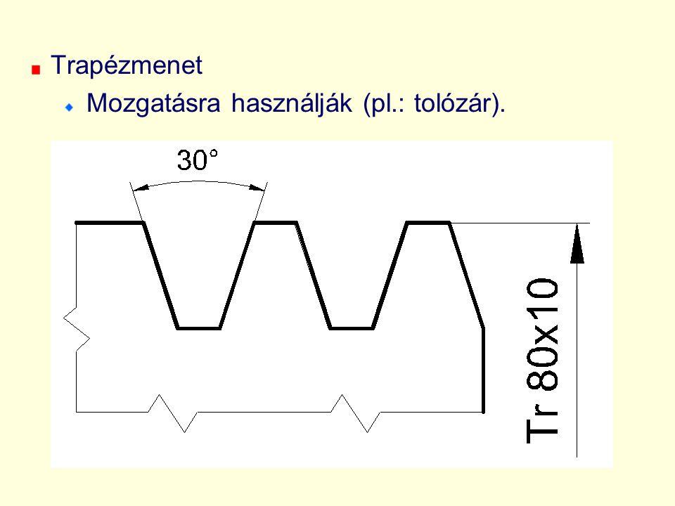 Trapézmenet Mozgatásra használják (pl.: tolózár).