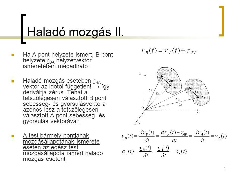 Haladó mozgás II. Ha A pont helyzete ismert, B pont helyzete rBA helyzetvektor ismeretében megadható: