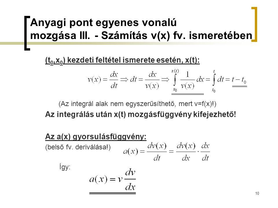 Anyagi pont egyenes vonalú mozgása III. - Számítás v(x) fv. ismeretében