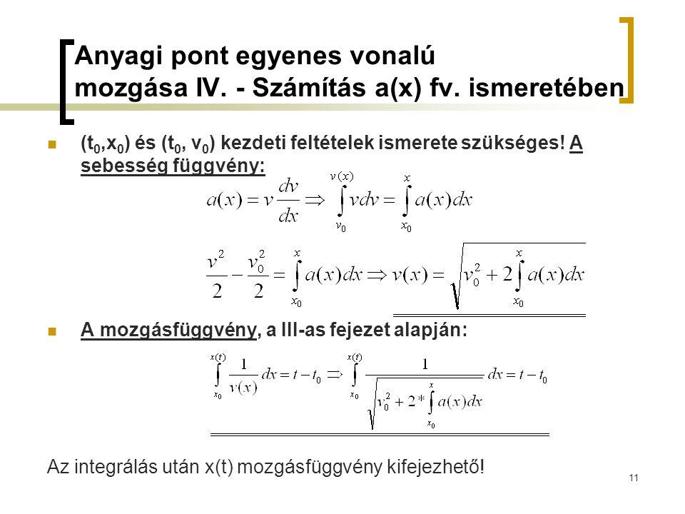 Anyagi pont egyenes vonalú mozgása IV. - Számítás a(x) fv. ismeretében