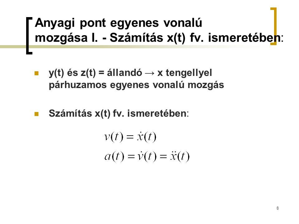 Anyagi pont egyenes vonalú mozgása I. - Számítás x(t) fv. ismeretében: