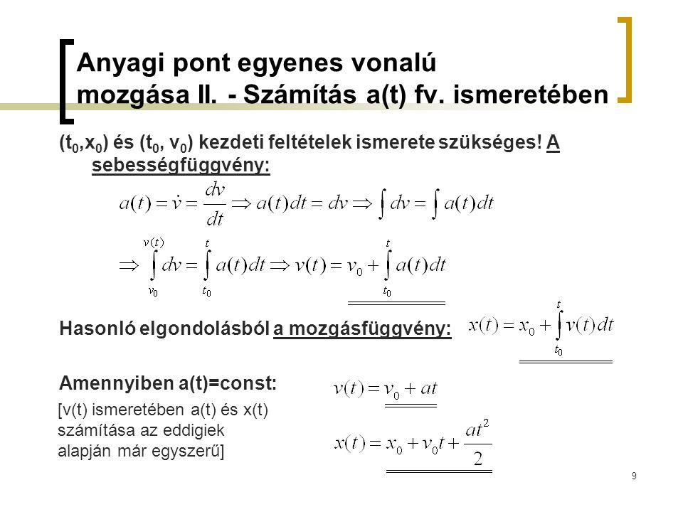 Anyagi pont egyenes vonalú mozgása II. - Számítás a(t) fv. ismeretében