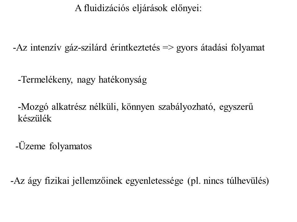 A fluidizációs eljárások előnyei: