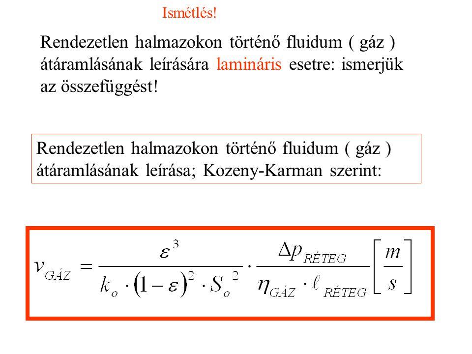 Ismétlés! Rendezetlen halmazokon történő fluidum ( gáz ) átáramlásának leírására lamináris esetre: ismerjük az összefüggést!
