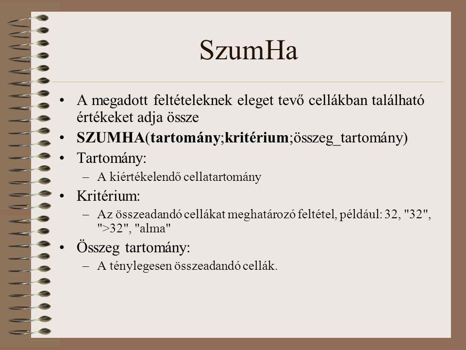 SzumHa A megadott feltételeknek eleget tevő cellákban található értékeket adja össze. SZUMHA(tartomány;kritérium;összeg_tartomány)