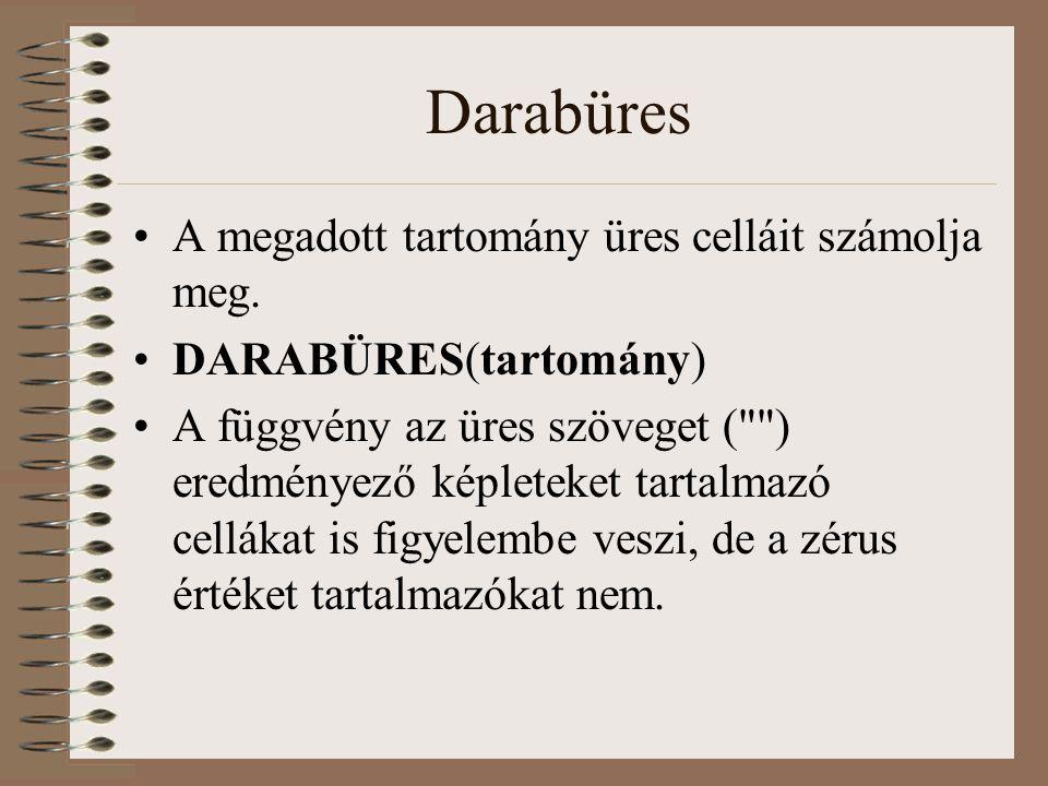 Darabüres A megadott tartomány üres celláit számolja meg.