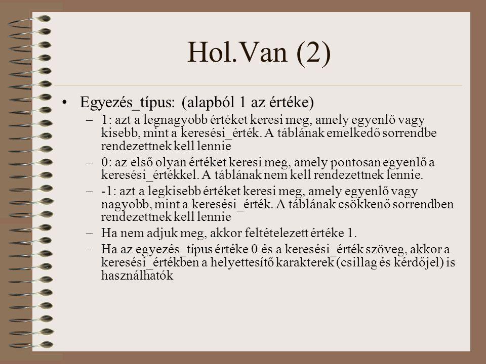 Hol.Van (2) Egyezés_típus: (alapból 1 az értéke)