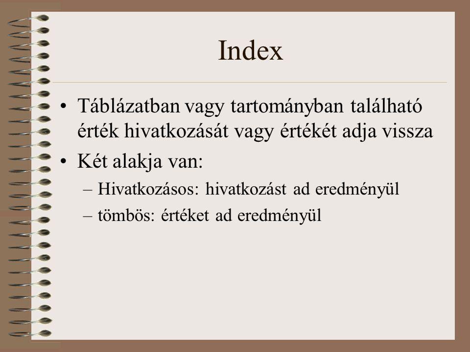 Index Táblázatban vagy tartományban található érték hivatkozását vagy értékét adja vissza. Két alakja van:
