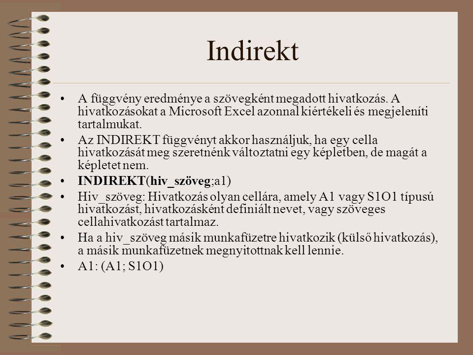 Indirekt A függvény eredménye a szövegként megadott hivatkozás. A hivatkozásokat a Microsoft Excel azonnal kiértékeli és megjeleníti tartalmukat.