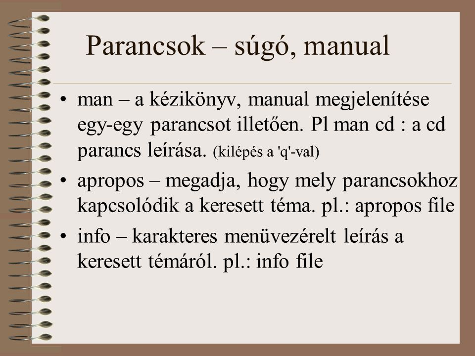 Parancsok – súgó, manual