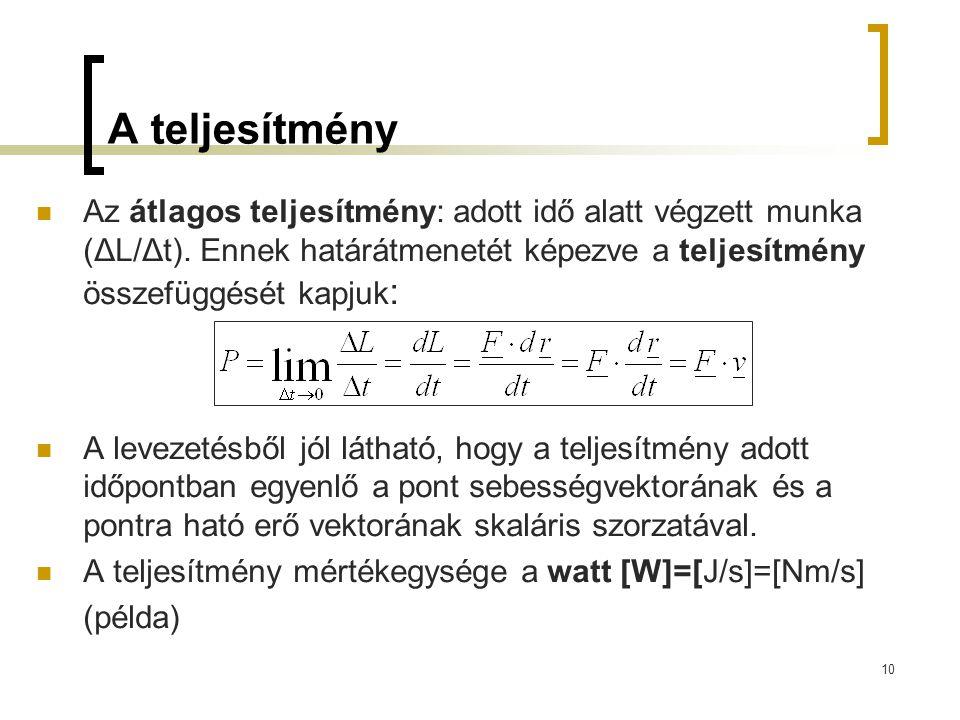 A teljesítmény Az átlagos teljesítmény: adott idő alatt végzett munka (ΔL/Δt). Ennek határátmenetét képezve a teljesítmény összefüggését kapjuk: