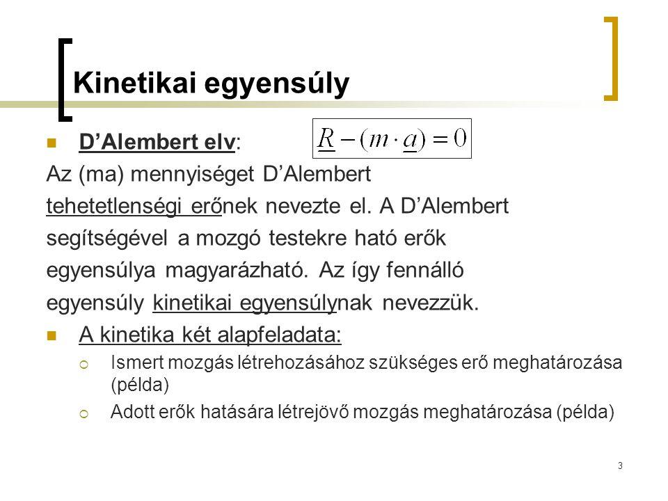 Kinetikai egyensúly D'Alembert elv: Az (ma) mennyiséget D'Alembert