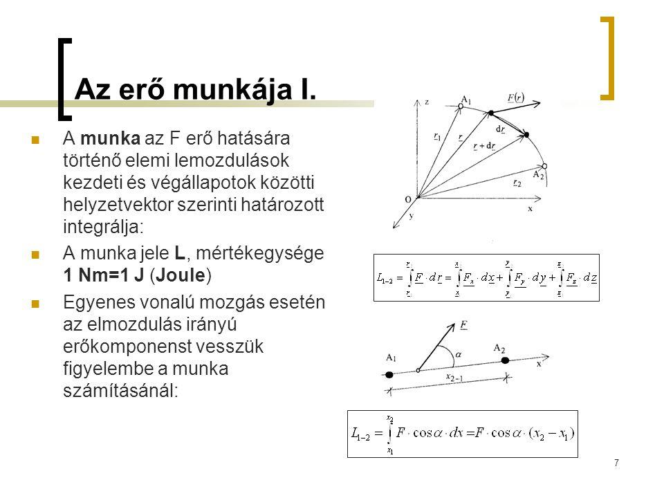Az erő munkája I. A munka az F erő hatására történő elemi lemozdulások kezdeti és végállapotok közötti helyzetvektor szerinti határozott integrálja: