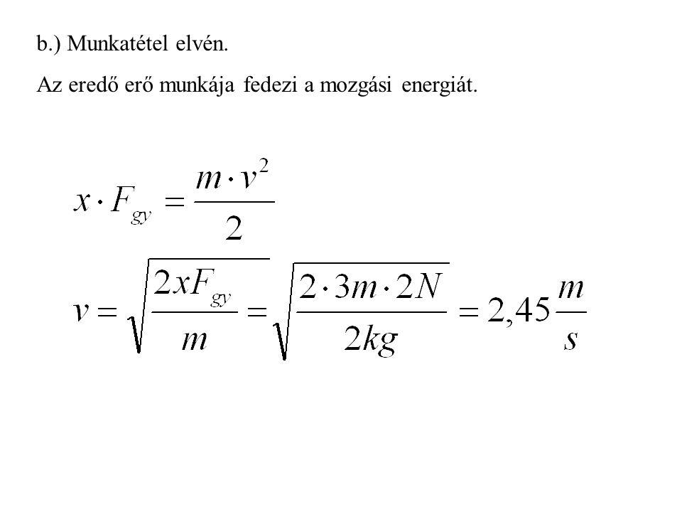 b.) Munkatétel elvén. Az eredő erő munkája fedezi a mozgási energiát.