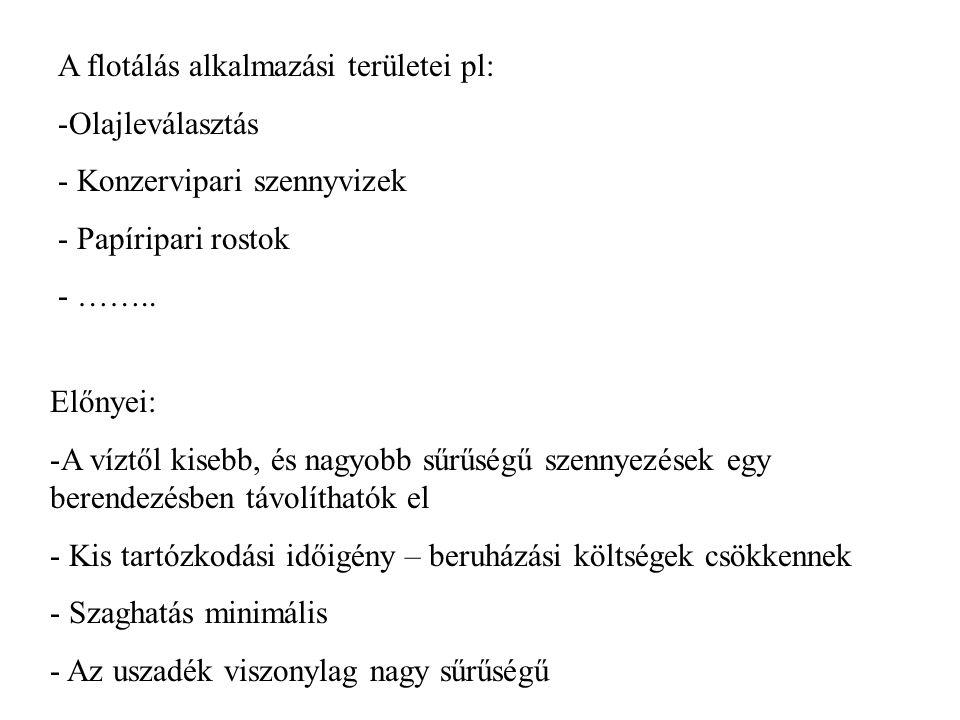 A flotálás alkalmazási területei pl: