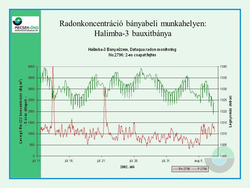 Radonkoncentráció bányabeli munkahelyen: