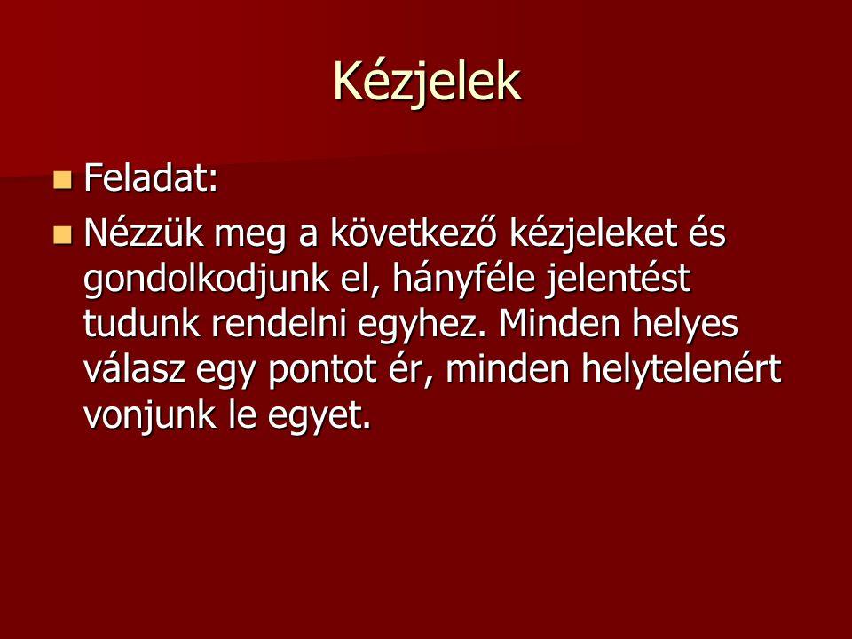Kézjelek Feladat: