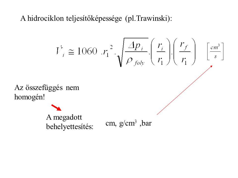 A hidrociklon teljesítőképessége (pl.Trawinski):