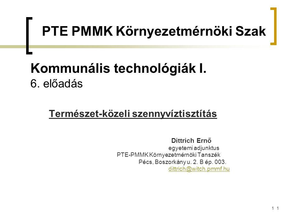 Kommunális technológiák I. 6. előadás