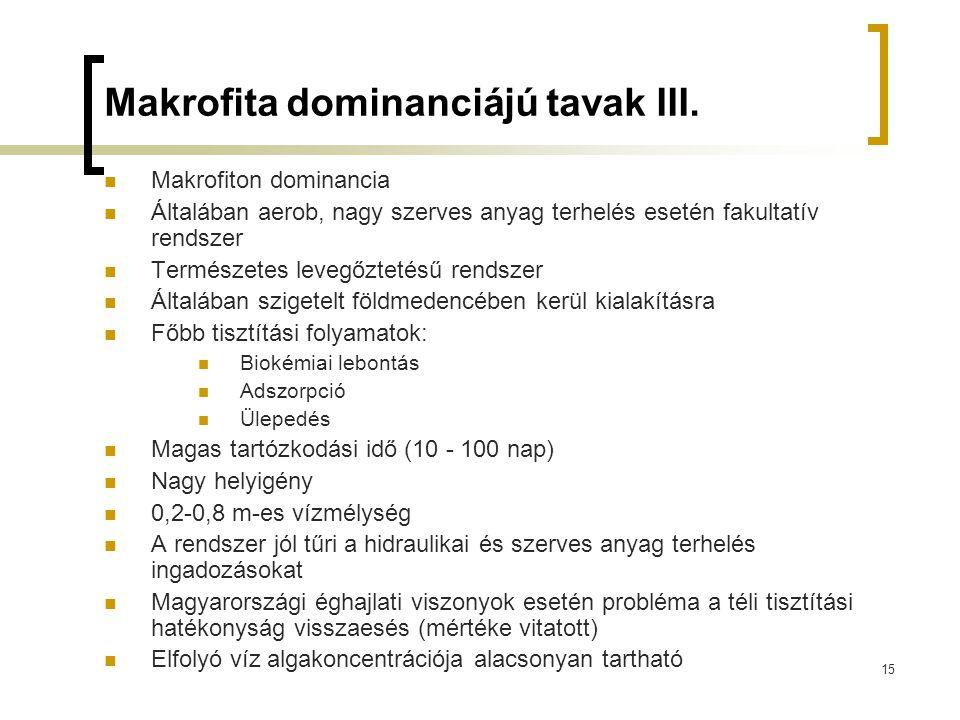 Makrofita dominanciájú tavak III.