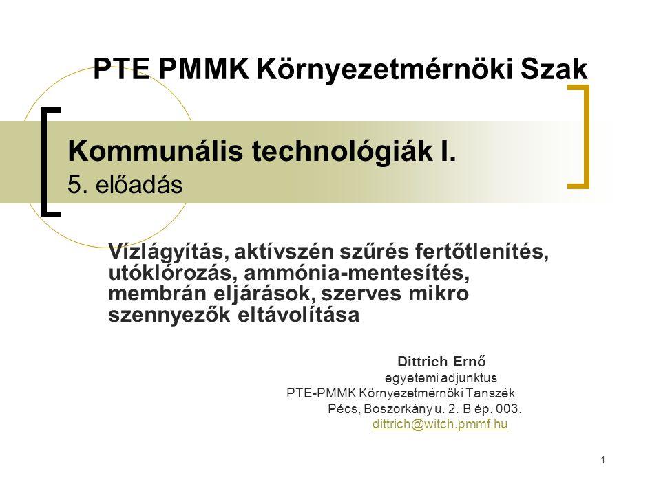 Kommunális technológiák I. 5. előadás