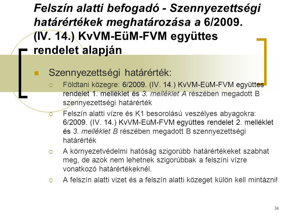Felszín alatti befogadó - Szennyezettségi határértékek meghatározása a 6/2009. (IV. 14.) KvVM-EüM-FVM együttes rendelet alapján