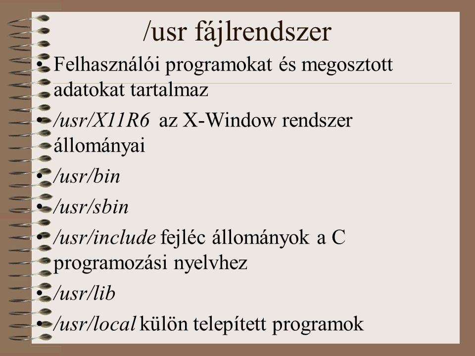 /usr fájlrendszer Felhasználói programokat és megosztott adatokat tartalmaz. /usr/X11R6 az X-Window rendszer állományai.