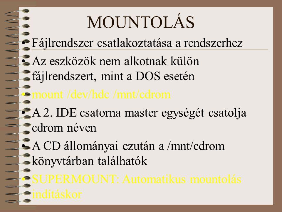 MOUNTOLÁS Fájlrendszer csatlakoztatása a rendszerhez