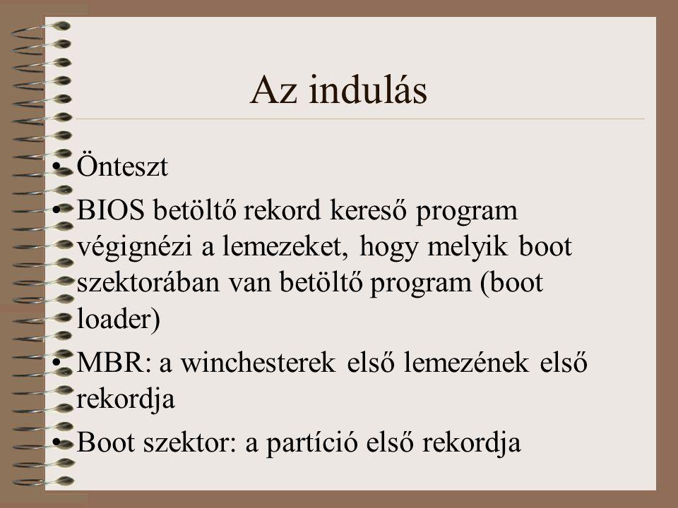 Az indulás Önteszt. BIOS betöltő rekord kereső program végignézi a lemezeket, hogy melyik boot szektorában van betöltő program (boot loader)