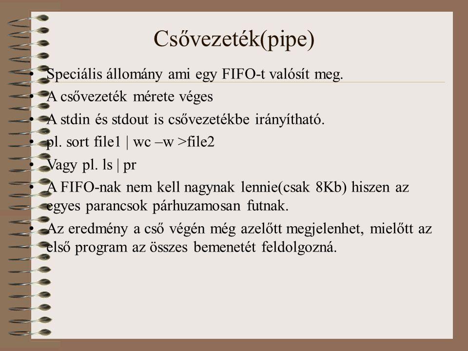 Csővezeték(pipe) Speciális állomány ami egy FIFO-t valósít meg.