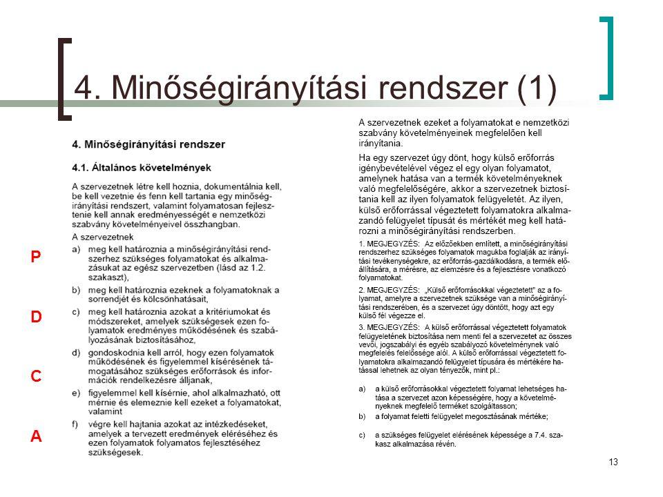 4. Minőségirányítási rendszer (1)