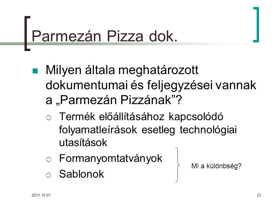 """Parmezán Pizza dok. Milyen általa meghatározott dokumentumai és feljegyzései vannak a """"Parmezán Pizzának"""