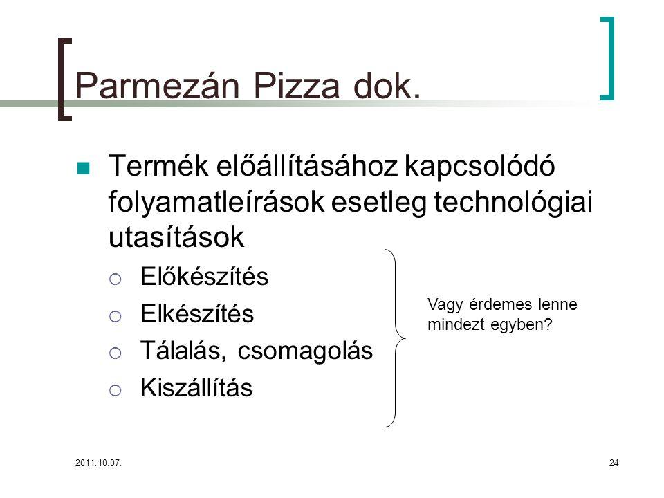 Parmezán Pizza dok. Termék előállításához kapcsolódó folyamatleírások esetleg technológiai utasítások.