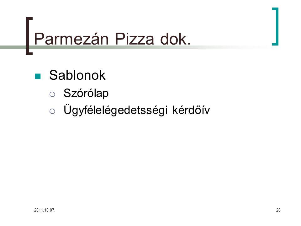 Parmezán Pizza dok. Sablonok Szórólap Ügyfélelégedetsségi kérdőív
