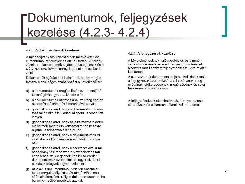 Dokumentumok, feljegyzések kezelése (4.2.3- 4.2.4)