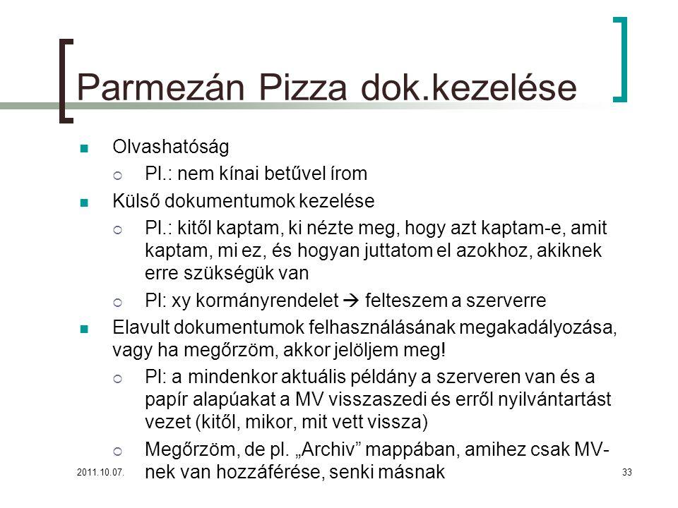 Parmezán Pizza dok.kezelése