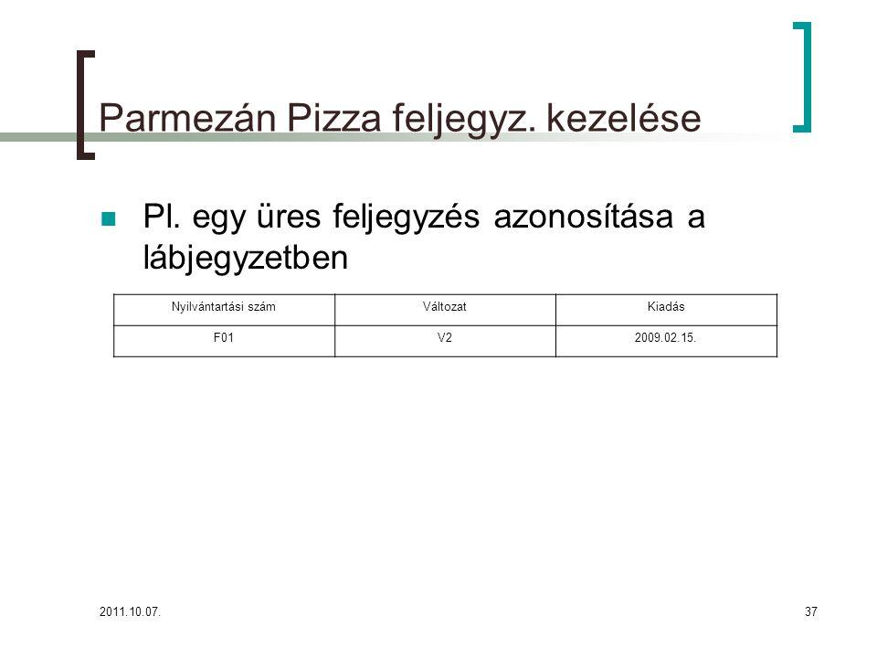 Parmezán Pizza feljegyz. kezelése