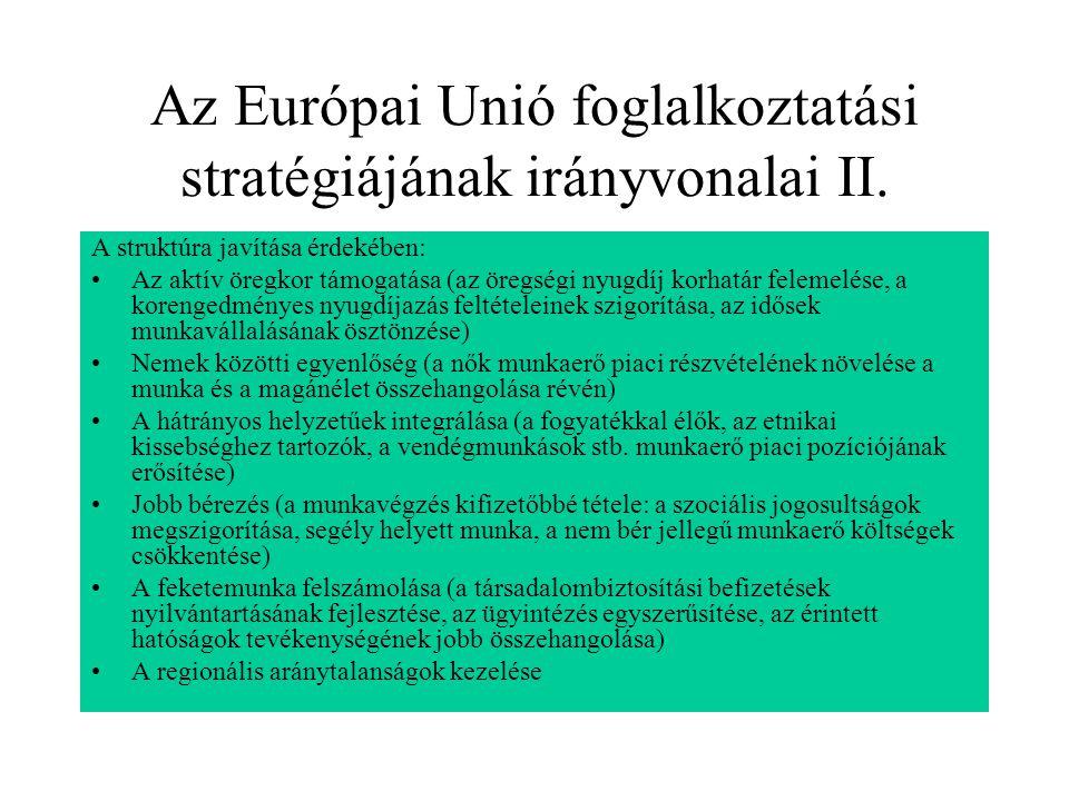 Az Európai Unió foglalkoztatási stratégiájának irányvonalai II.