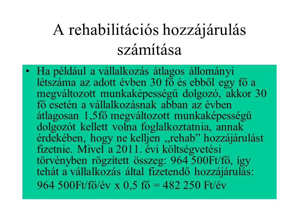 A rehabilitációs hozzájárulás számítása
