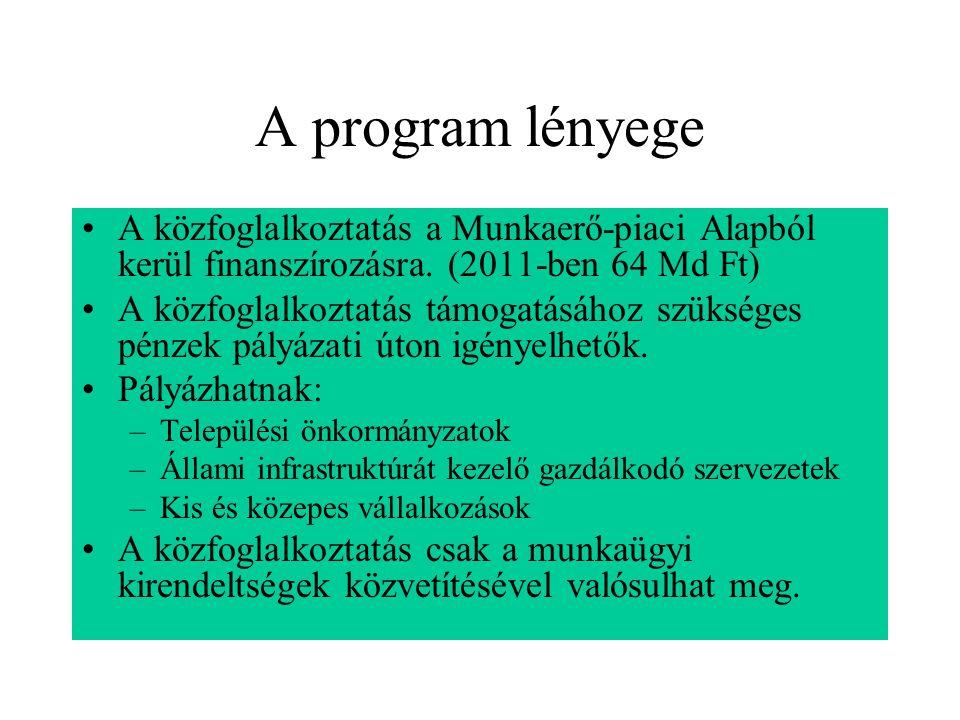 A program lényege A közfoglalkoztatás a Munkaerő-piaci Alapból kerül finanszírozásra. (2011-ben 64 Md Ft)