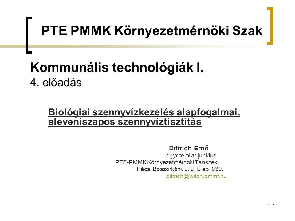 Kommunális technológiák I. 4. előadás