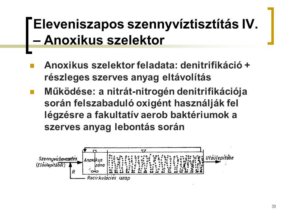 Eleveniszapos szennyvíztisztítás IV. – Anoxikus szelektor