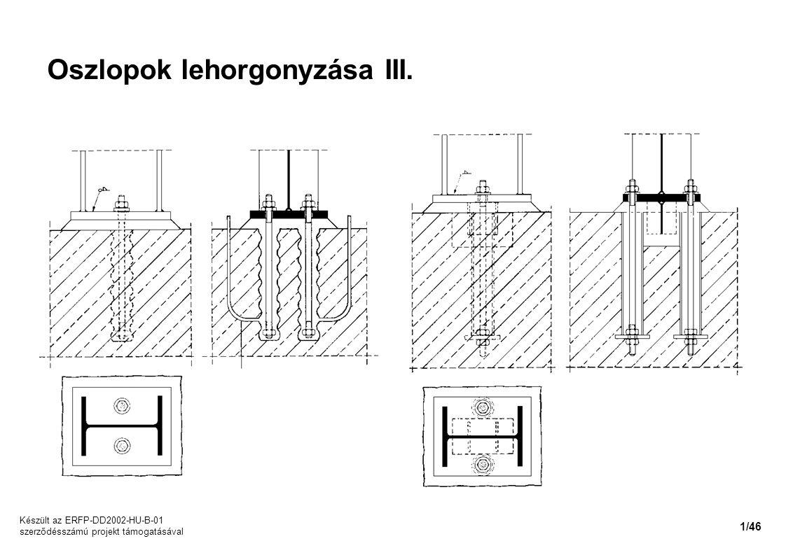 Oszlopok lehorgonyzása III.