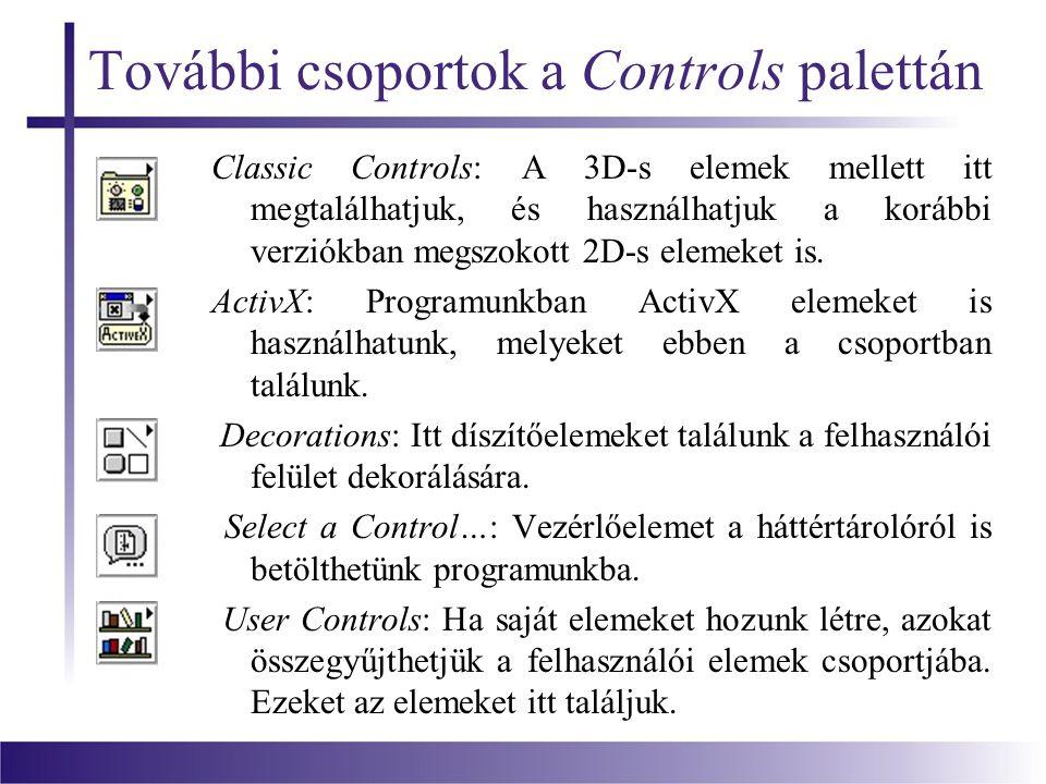 További csoportok a Controls palettán