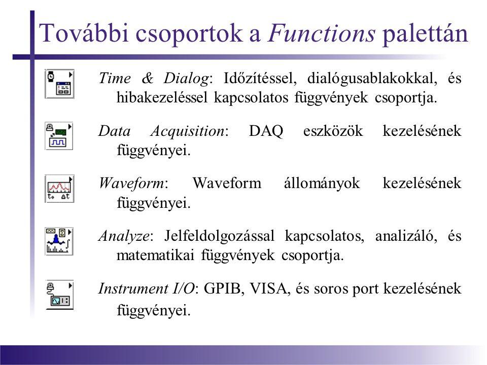 További csoportok a Functions palettán