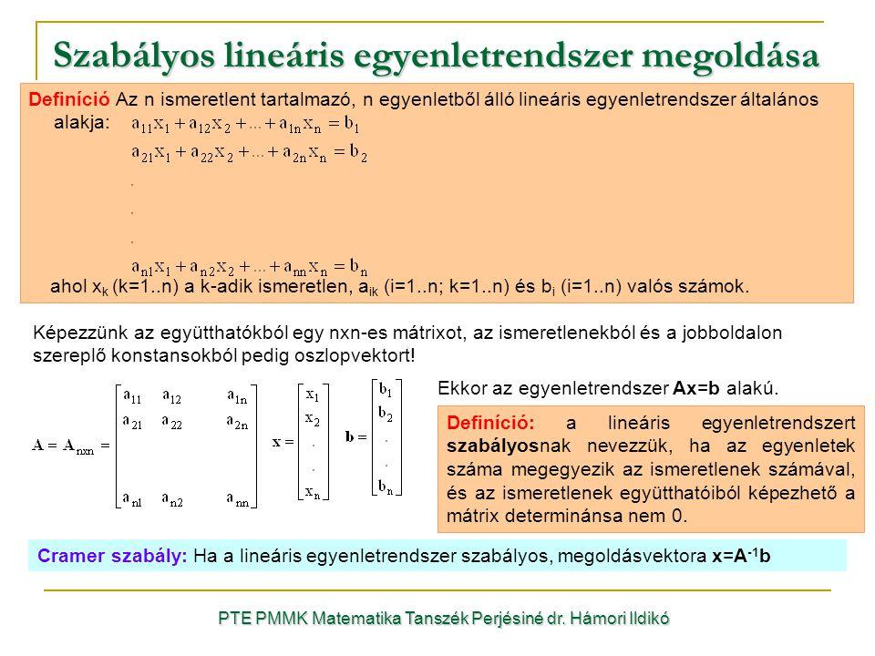 Szabályos lineáris egyenletrendszer megoldása