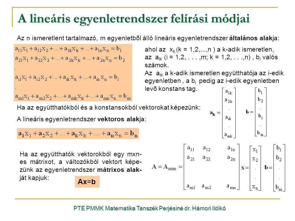 A lineáris egyenletrendszer felírási módjai
