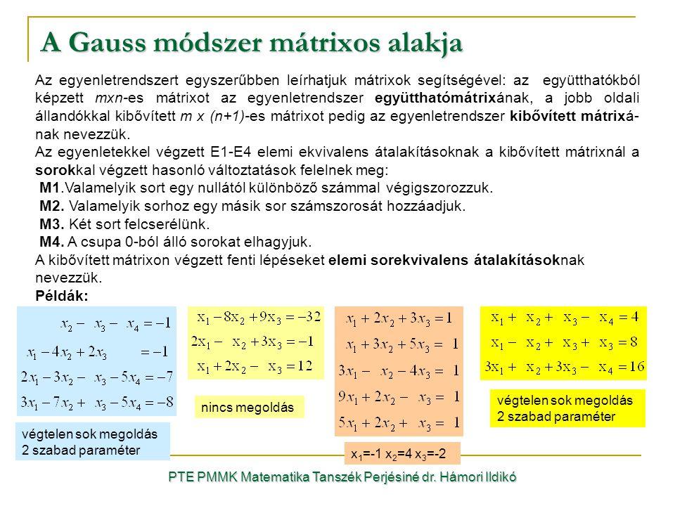 A Gauss módszer mátrixos alakja