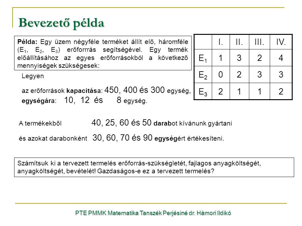 PTE PMMK Matematika Tanszék Perjésiné dr. Hámori Ildikó